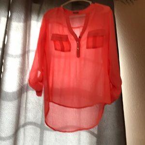 Gauzy neon coral blouse